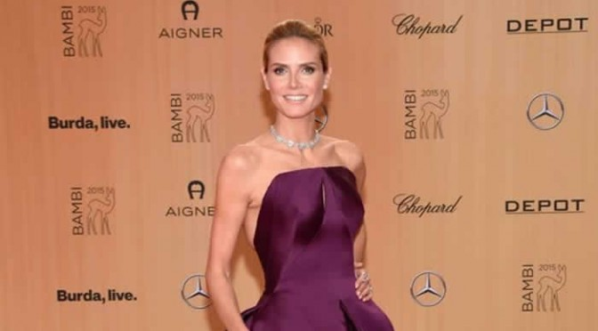 Heidi Klum wears ballgown on the Bambi Awards 2015 red carpet in Berlin