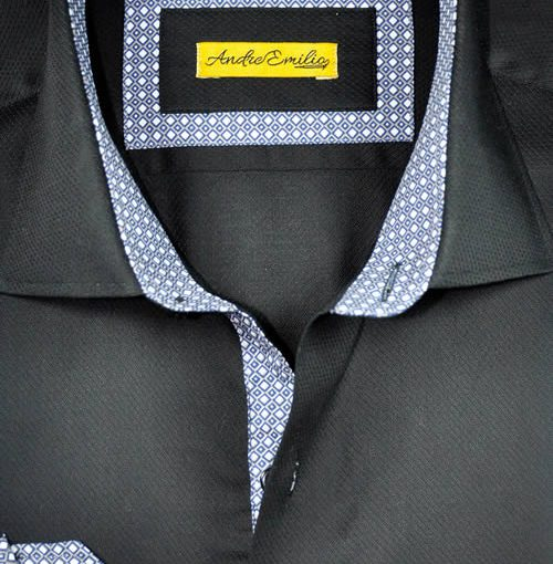 Men Black Self Print Slim Fit Shirt